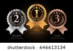 1st, 2nd, 3rd Sports awards three medals, gold, silver and bronze isolated on a black background