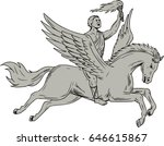 Drawing sketch style illustration of Bellerophon, a Greek mythology hero riding Pegasus, a winged horse-god divine stallion holding torch viewed from the side set on isolated white background.