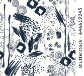 Seamless hand drawn pattern , black and white ink brushstrokes with abstract simple dynamic shapes, sketch art, grungy texture