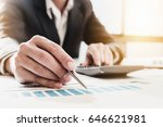 businessman pen pointing graph... | Shutterstock . vector #646621981