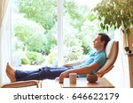 happy man relaxing in deck... | Shutterstock . vector #646622179