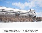 kanazawa castle park with snow...