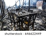 interior of burned down wooden...