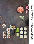 sushi platter with wasabi ...   Shutterstock . vector #646624291