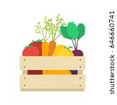 wooden box with vegetables ... | Shutterstock .eps vector #646660741