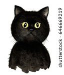 Stock photo cute little black cat hand painted 646669219