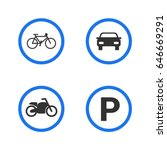 parking sign. motorcycle ... | Shutterstock .eps vector #646669291