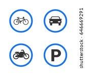 parking sign. motorcycle ... | Shutterstock .eps vector #646669291