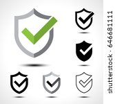 shield check mark logo icon... | Shutterstock .eps vector #646681111