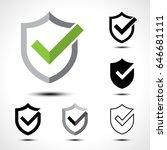 shield check mark logo icon... | Shutterstock .eps vector #646681111