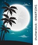 full moon twilight with dark...   Shutterstock .eps vector #646691041