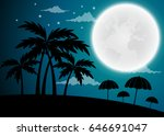 full moon twilight with dark...   Shutterstock .eps vector #646691047