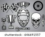 set of motocross racing with...   Shutterstock .eps vector #646691557