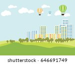 landscape vector park city and... | Shutterstock .eps vector #646691749