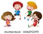 boys and girls laugh... | Shutterstock .eps vector #646692295