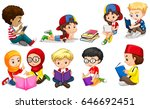 boys and girls reading books... | Shutterstock .eps vector #646692451
