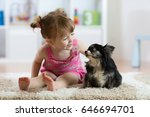 child girl plays with little... | Shutterstock . vector #646694701