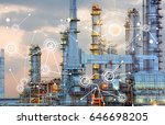 oil refinery at twilight with... | Shutterstock . vector #646698205
