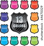 Glossy empty shield (icon set of 13 colors icon with copy-space) - stock photo