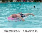 sleeping on vacation floating... | Shutterstock . vector #646704511