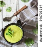 cream avocado soup with nuts ... | Shutterstock . vector #646705369
