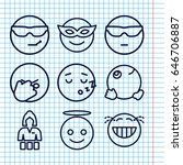 set of 9 cheerful outline icons ... | Shutterstock .eps vector #646706887