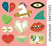 set of decorative fashion...   Shutterstock .eps vector #646711621