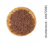 "Dutch ""hagelslag""  chocolate sprinkles with butter on round toast. - stock photo"