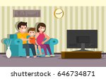 happy family sitting on a sofa... | Shutterstock .eps vector #646734871