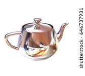 chrome teapot. 3d illustration | Shutterstock . vector #646737931