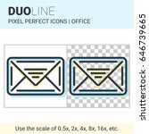 pixel perfect duo line email... | Shutterstock .eps vector #646739665
