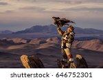mongolian eagle hunters in...   Shutterstock . vector #646752301