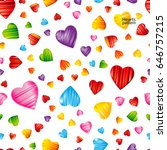 colorful striped hearts pattern.... | Shutterstock .eps vector #646757215