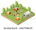 isometric traveling camping... | Shutterstock .eps vector #646758619
