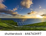 solar panels at sunrise with... | Shutterstock . vector #646763497