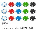 Poker Chips Isolated On White...