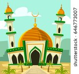vector cartoon mosque building... | Shutterstock .eps vector #646773007