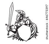 spartan warrior drawing vector  | Shutterstock .eps vector #646773397