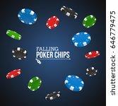falling poker chips on a dark... | Shutterstock .eps vector #646779475
