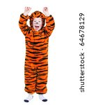 Young Boy In A Halloween Tiger...