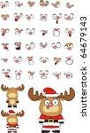 reindeer cartoon set in vector... | Shutterstock .eps vector #64679143