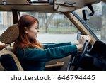 woman driving a car             ... | Shutterstock . vector #646794445