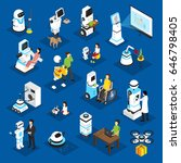 robots isometric set with... | Shutterstock .eps vector #646798405