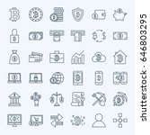 line bitcoin icons. vector set... | Shutterstock .eps vector #646803295
