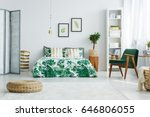 white bedroom with screen  bed  ... | Shutterstock . vector #646806055
