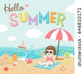 hello summer  happy girl on the ... | Shutterstock .eps vector #646810171