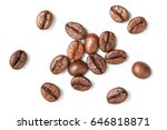 roasted coffee beans on white ... | Shutterstock . vector #646818871