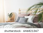 pink and grey cozy bedding on... | Shutterstock . vector #646821367