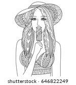 zendoodle design of sexy girl... | Shutterstock .eps vector #646822249
