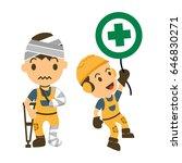 set of construction worker ... | Shutterstock .eps vector #646830271
